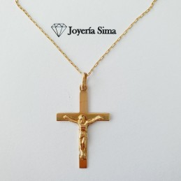 Cadena y cruz cristo en oro...
