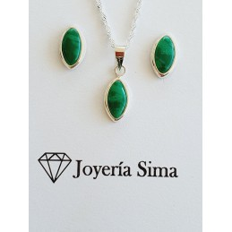 Conjunto plata color verde