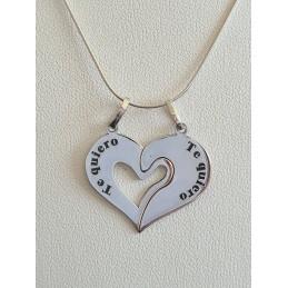 """Medalla corazón partido """"Te..."""