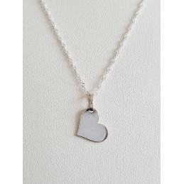 Corazón con cadena plata