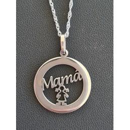 Medalla mamá 1 hija con cadena
