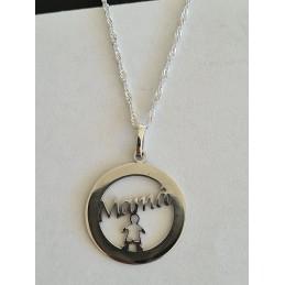 Medalla mamá 1 hijo con cadena